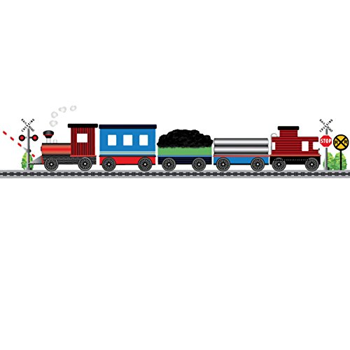 (Red Caboose Train with Straight Railroad Track Reusable Wall Decals,Color 1)
