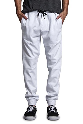 G-Style USA Athletic Solid Color Cotton Sweatpants With Zipper Pockets - 17191-1580 - WHITE - Medium - DD7B