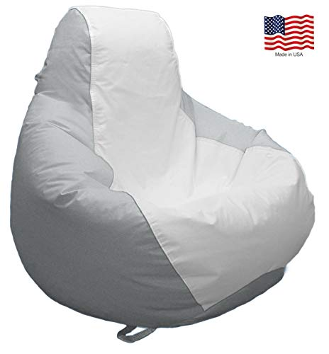 JoyBean Outdoor Bean Bag Chair - Water Resistant Marine Vinyl Ideal for Yacht Boat Pool Patio Garden Marine - Lawn Chair - Patio Furniture - for Adults Teens Kids (Large, White/LightGray)