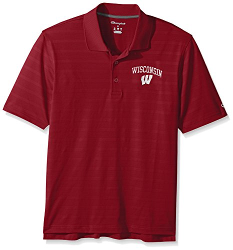 NCAA Champion Men's Textured Solid Polo, Wisconsin Badgers, X-Large