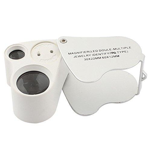 eDealMax bolsillo Doble lupa de aumento 4X Eye 2 LED lupa Ligera