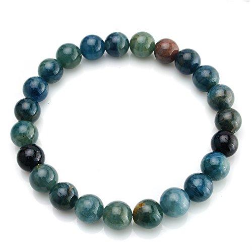 BEADNOVA AAA Grade 8mm Apatite Gemstone Bracelet Semi Precious Gemstone Birthstone Healing Round Beads Stretch Bracelet 7.8