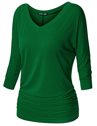 TWINTH Womens 3/4 Sleeve Boat Neck Cute Solid Shirring Dolman Drape Tops Green ()