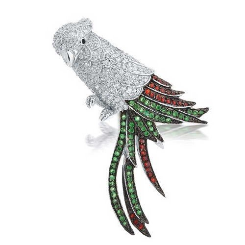 (Bling Jewelry 2 in 1 Pin Multicolor Pave Cubic Zirconia CZ Statement Fashion Bird Parrot Brooch Pendant for Women Silver Plated Brass)