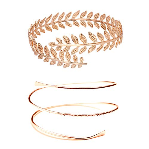 MANZHEN Fashion Gold Tone Swirl Leaf Upper Arm Bracelet Armlet Cuff Bangle Armband Adjustable (Leaf+Swirl-Rose Gold)