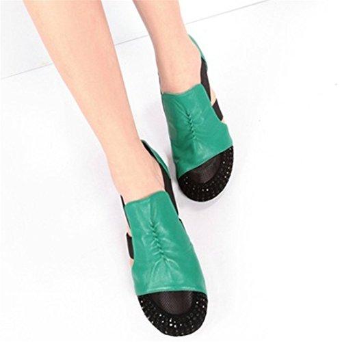 Sandalias Mujer Sandalias Taladro Feng Shui Occidental Baotou Sandalias Grandes Astilleros Sandalias Green