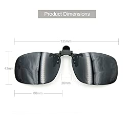 Besgoods Black Grey Polarized Cycling Sport Outdoor Driving Fishing Clip-on Flip up Plastic Sunglasses Lenses Glasses