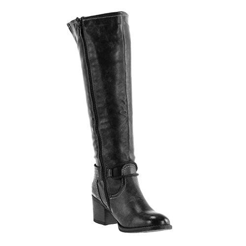 Angkorly Women's Fashion Shoes Boots - cavalier - vintage style - buckle - finish topstitching seams - zip Block high heel 5 CM Black Grey 2WfjI