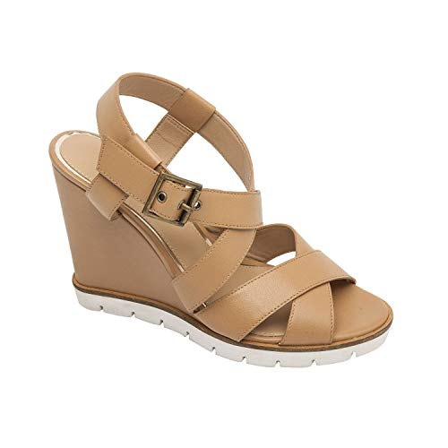 Linea Paolo Edyta | Sporty Rubber Bottom High Wedge Serpentine Leather Sandal Desert Leather - Serpentine Leather