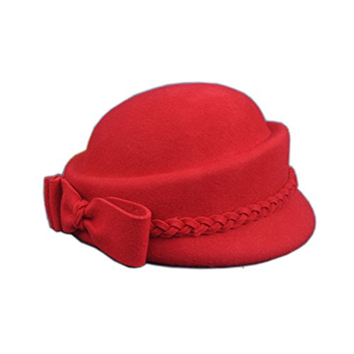 YSJOY Womens Bowknot 100% Wool Autumn Winter Derby Hat Pillbox Hat Beret Caps Church Tea Party Hair Accessory Stewardess Hat Painter Hat Red -