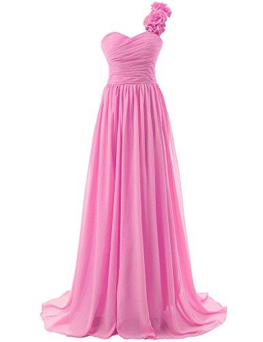 da Chiffon d'onore Lungo Abiti da ballo festa Una JAEDEN Vestito damigella Rosa spalla Abito Donna wxZf1Fq7