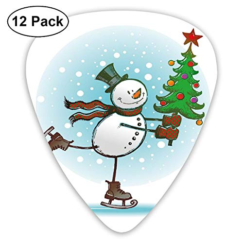Guitar Picks 12-Pack,Hand Drawn Style Skating Snowman With Christmas Tree And Hat Cold Winter Snowfall