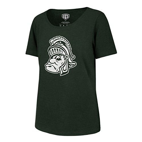 NCAA Michigan State Spartans Adult Women NCAA Women's Ots Slub Scoop Distressed Tee, X-Large, Dark Green