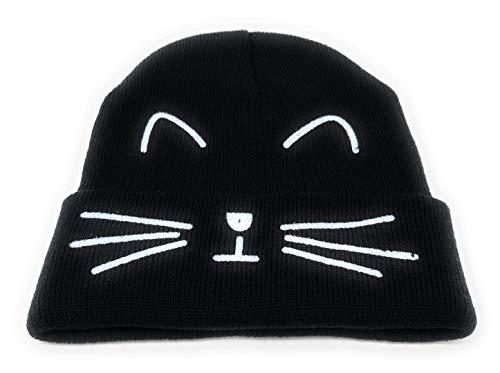 Charles Albert Women's Knitted Critter Winter Hat Beanie in Black