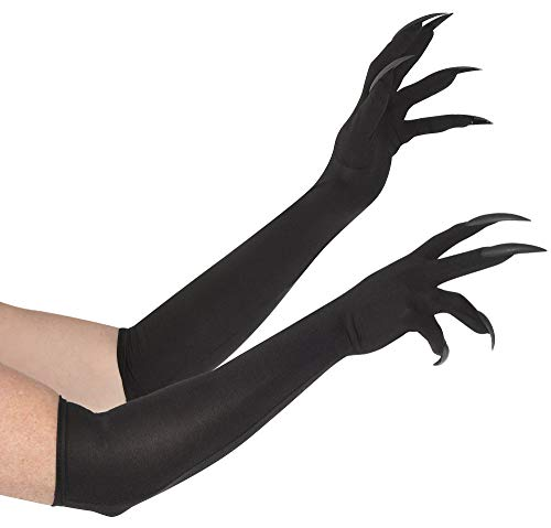 (Suit Yourself Long Cat Claw Gloves for Adults, One Size, Above-the-Elbow Black Gloves Feature Black Plastic)
