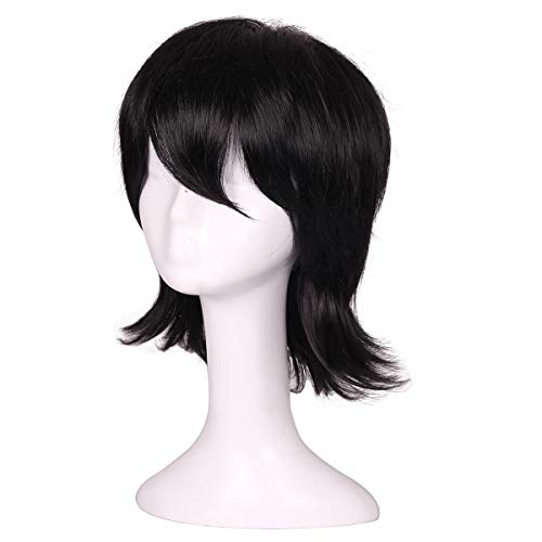 ColorGround Short Black Prestyled Cosplay Wig for Men ()