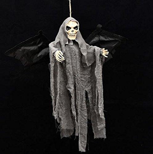 New Halloween Party Decoration Sound Control Creepy Scary Animated Skeleton Hanging Ghost by ShopIdea (Grey)