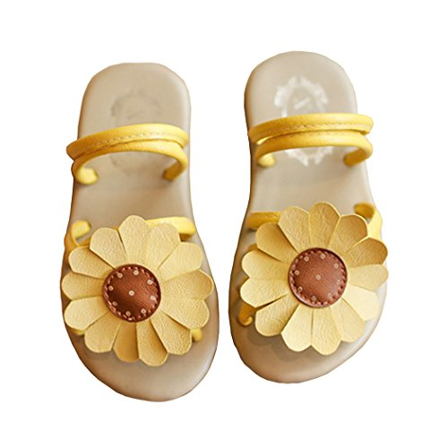 Toddler Girl Sunflower Slip On Strap Slide Sandal Summer Beach Walking Flat Shoe Yellow Size 24