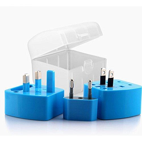 Kompakter Reisestecker Adapterstecker in Blau mit Schutz-Case für 150 Länder 6A Max. Von Amathings Blau BmXsnzWZ