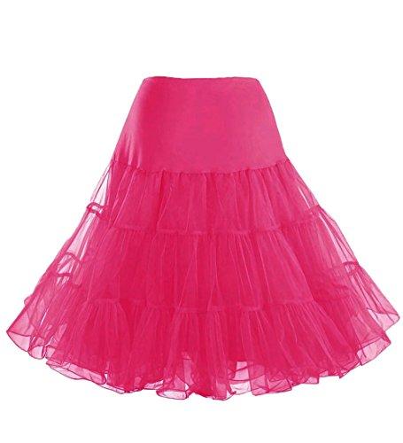 [Lamgo Women's 50s Vintage Midi Petticoat Crinoline Tutu Underskirts Fuschia] (80s Themed Outfits)