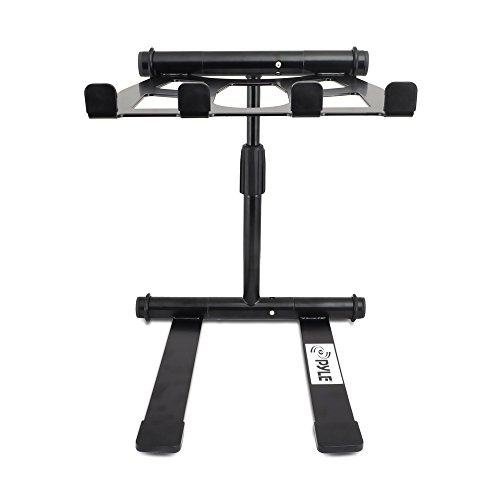 Pyle PLPTS55 - Portable, Folding Tabletop DJ Gear Stand for Laptop Mixer or Other Gear - Adjustable Angle and Height