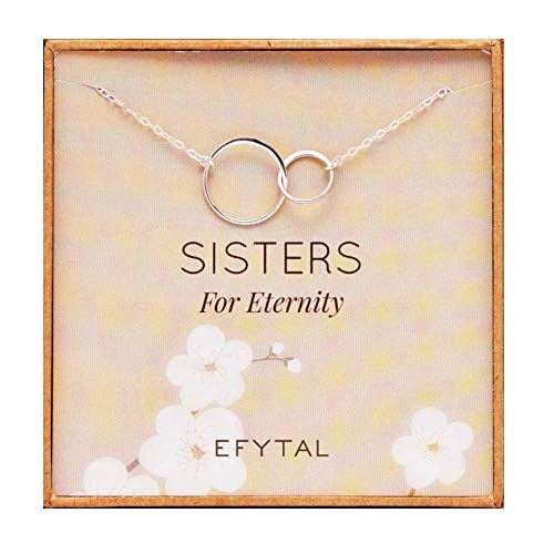 - EFYTAL Sister Gifts from Sister, 925 Sterling Silver Double Circle Necklace, Birthday Jewelry Gift Necklaces for Sisters for Eternity