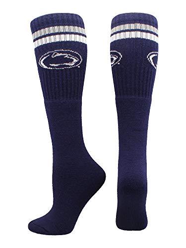 TCK Sports Penn State Nittany Lions Throwback Tube Socks (Blue/Grey/White, Medium)