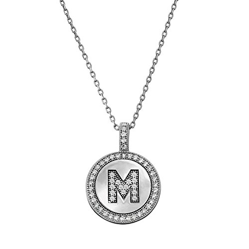 Ritastephens Sterling Silver CZ Micro Pave Alphabet Initial Letter Pendant Necklace (A-to-Z)