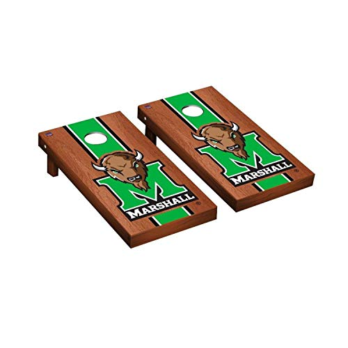 Victory Tailgate Regulation Collegiate NCAA Rosewood Stained Stripe Series Cornhole Board Set - 2 Boards, 8 Bags - Marshall Thundering Herd