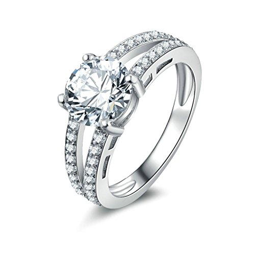 - Daesar Silver Plated Rings Womens Engagement Rings Custom Ring Round of CZ Ring Two Line CZ Ring Size 10