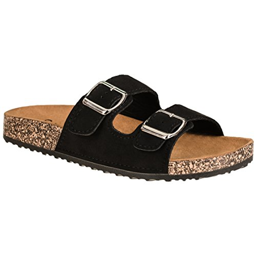 CLOVERLY Comfort Low Easy Slip On Sandal - Casual Cork Footbed Platform Sandal Flat - Trendy Open Toe Slide Sandal Shoes (8.5 M US, Black Suede)