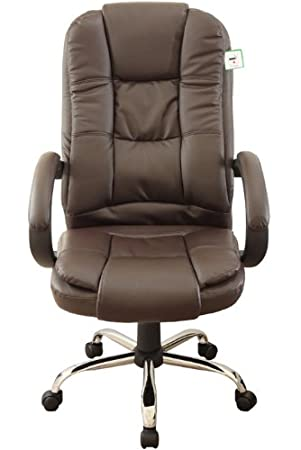 executive high back brown color pu leather chrome base office chair