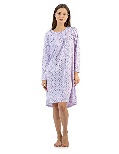 Casual Nights Women's Cotton Blend Long Sleeve Nightgown - Floral Pintucked Purple - Medium