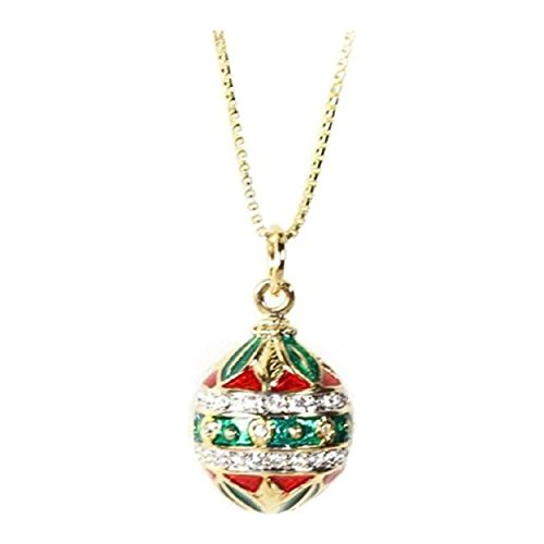 Gold Finish Crystal Round Red Green Enamel Mother's Day Festive Egg Pendant Necklace With Chain 18