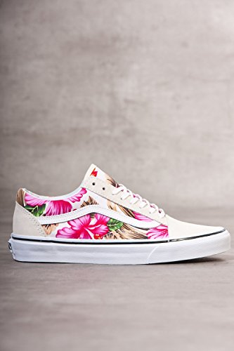Vans Hawaiian Floral Old Skool Womens Suede & Textile Skate Trainers White Multicolour, Size 10