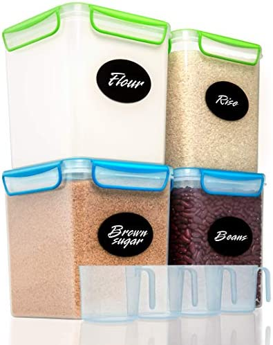 Set of 4 EXTRA LARGE WIDE /& DEEP Food Storage Airtight Pantry Containers 5.2L