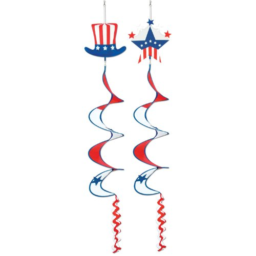 Patriotic Wind-Spinners (stars & stripes designs) Party Accessory  (1 count) (1/Pkg)