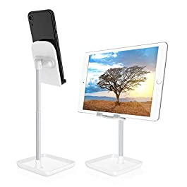 Cell Phone Stand for Desk,Height Angle Adjustable Phone Stand,Deep Dream Case Friendly Desktop Sturdy Aluminum Metal…
