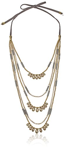 Lucky Brand Two Tone Beaded Leather Necklace