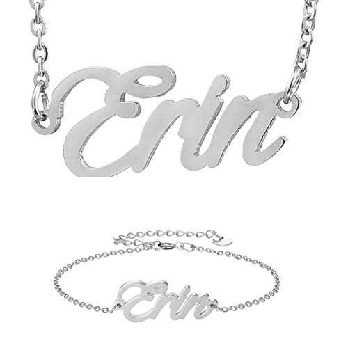 - HUAN XUN Silver Nameplated Couple Jewelry Set Erin Necklace & Bracelet