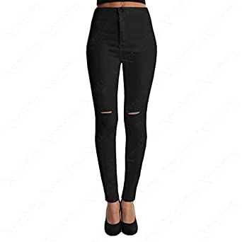 Ladies Black Ripped Knee Skinny Jeans Womens High Waisted Rip Cut ...