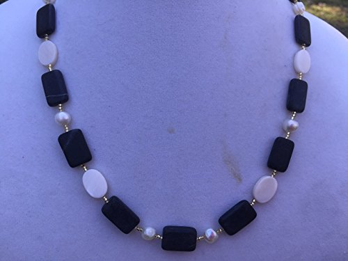 Blackstone, Freshwater Pearl, and White Mother of Pearl Handmade Beaded Necklace