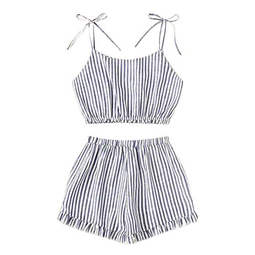 (Women 2 Piece Outfit Set Striped Print Cami Top and Shorts Set Navel Exposed Relaxed Fit Crop Top Shorts Pants Set Summer)