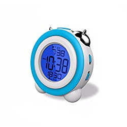 Digital Metal Twin Bell Alarm Clock with Night Light,Large Display, Smart Snooze,Cool Home Decoration Table Loud Alarm Clock for Heavy Sleepers, Adults, Kids & Teens (Blue)