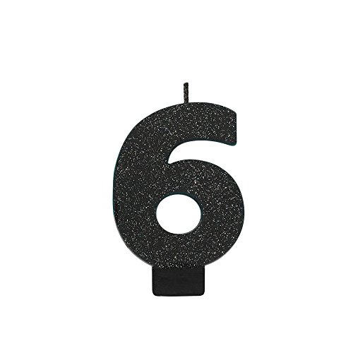 "Nice Amscan 6 Birthday Glitter 3.25"" Numeral Candle Children\'s Party Supplies, Black SMqTPMyM"