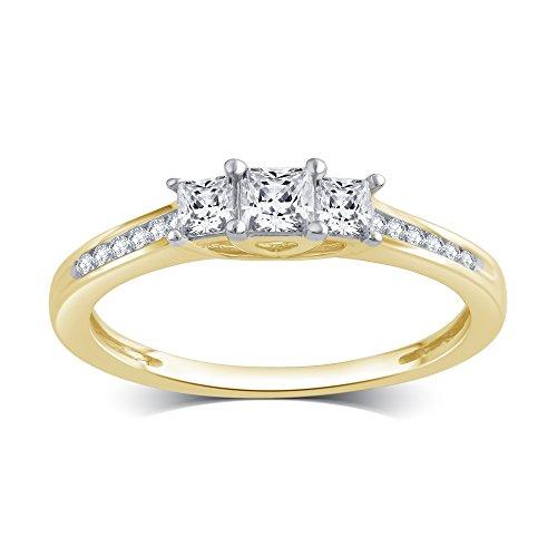 1/2 Cttw Princess Cut Diamond Three Stone Ring in 10K Yellow (Princess Cut Engagment Ring)