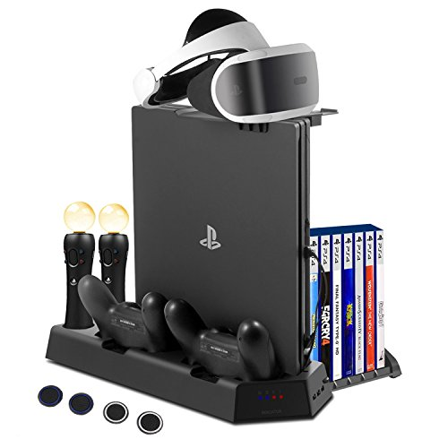 FlexDin PlayStation PS4 VR Charging Station, PS4 Slim / PS4 Pro / PS4 Multifunctional Vertical Cooling Stand with Games Storage, Quad Charger Dock for PS3 / PS4 Move Motion Controller & DualShock 4 (Quad Station Charge)