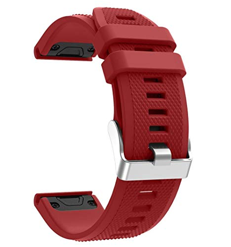 For Fenix 5 Silicone Watch Band,22mm Quick Fit Silicone Sport Waterproof Replacement Watch Band Strap for Garmin Fenix 5/Fenix 5 Plus/Forerunner 935/Approach S60/Quatix 5 (Red)