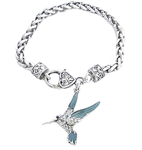 Rhinestone Heart Wing - HUMMINGBIRD Charm Bracelet is Embellished with Turquoise Enamel Wings & Clear Crystal Rhinestones.Heavy Chain Bracelet with Heart & Lobster Claw Clasp. Fits a 7 1/2 inch Wrist.Gift Boxed