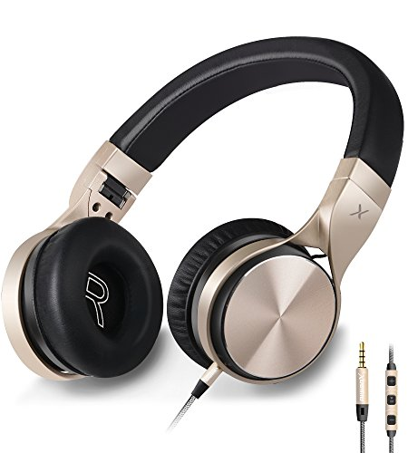 Headphones,Riwbox in-5 Headphones with Microphone and Volume Control Folding Lightweight Headset for iPhone Cellphones Tablets (Black Gold)